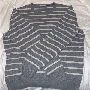 GAP Grey and White Striped Sweater Men's Medium